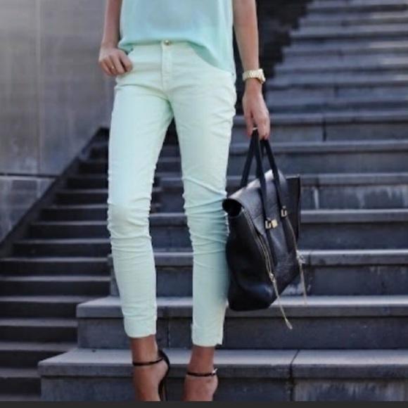 Zara Zipper Ankle Mint Green Skinny Jeans